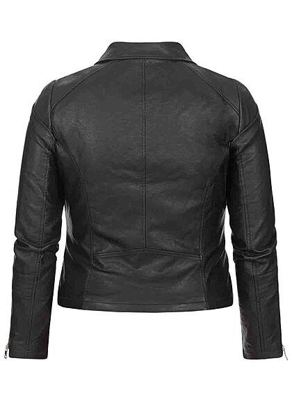 ONLY Carmakoma Damen NOOS Curvy Kunstleder Biker Jacke asymmetrischer Zipper schwarz