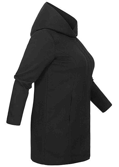 ONLY Carmakoma Damen NOOS Curvy Longline Coatigan Jacke Kapuze 2-Pockets schwarz