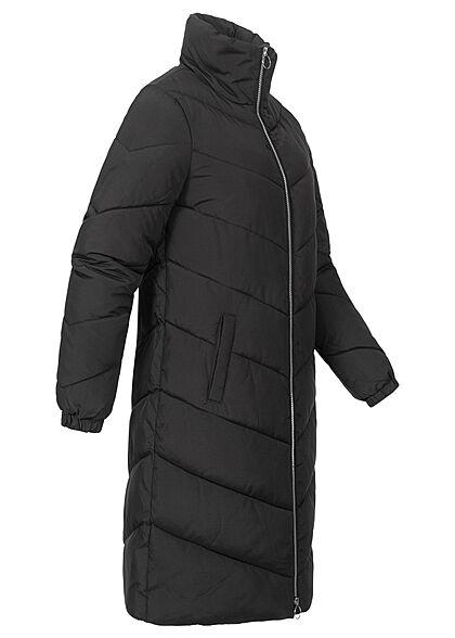 JDY by ONLY Damen Longform Steppjacke Stehkragen 2-Pockets schwarz