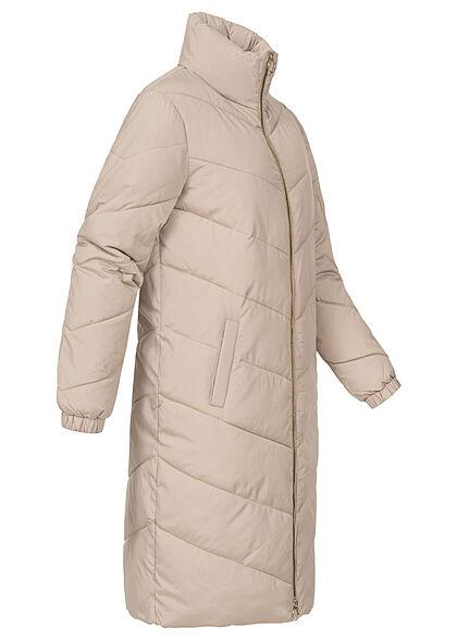 JDY by ONLY Damen Longform Steppjacke Stehkragen 2-Pockets simply taupe beige