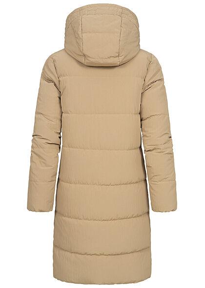 ONLY Damen langer Winter Puffermantel Steppjacke Kapuze 2-Pockets crockery beige
