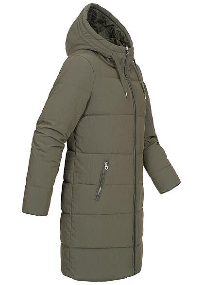ONLY Damen langer Winter Puffermantel Steppjacke Kapuze 2-Pockets grape leaf oliv