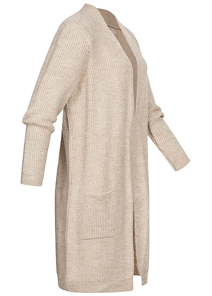 ONLY Damen NOOS Midi Strickcardigan 2-Pockets offener Schnitt whitecap beige