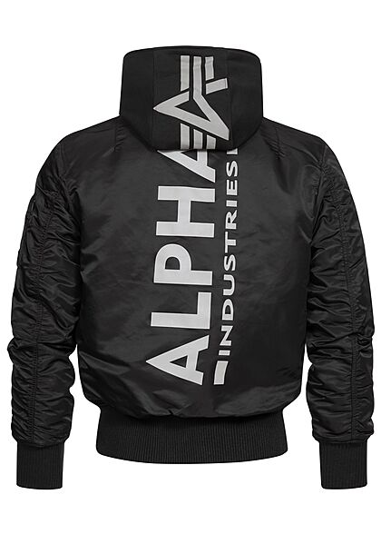 Alpha Industries Herren Bomber Fliegerjacke mit abnehmb. Kapuze 2-Pockets schwarz