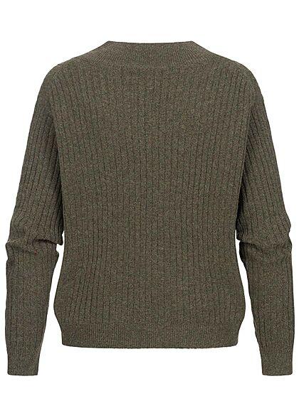 ONLY Damen V-Neck Strickpullover Sweater kalamata oliv grün