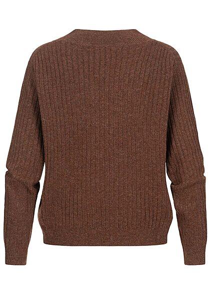 ONLY Damen V-Neck Strickpullover Sweater roasted russet braun