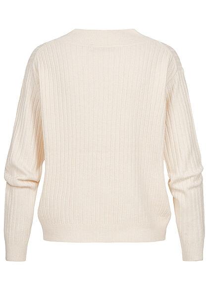 ONLY Damen V-Neck Strickpullover Sweater whitecap gray beige