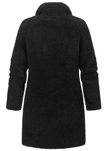 ONLY Damen Longform Teddyfell Jacke 2-Pockets schwarz