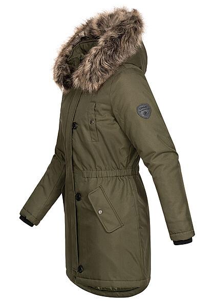 ONLY Damen Winter Parka Jacke Kapuze mit abnehmb. Kunstfell 4-Pockets grape leaf grün