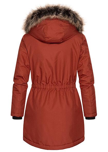 ONLY Damen Winter Parka Jacke Kapuze mit abnehmb. Kunstfell 4-Pockets roasted russet braun