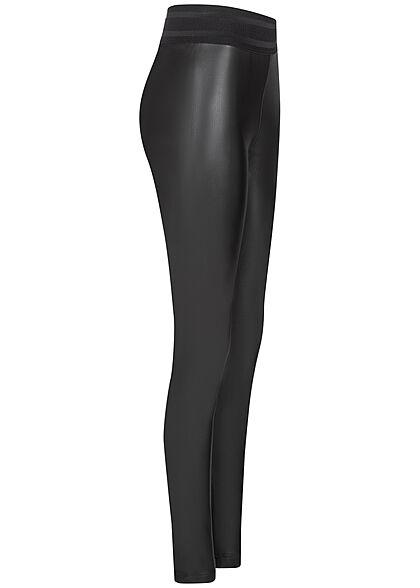 ONLY Damen Kunstleder Leggings Struktur Gummibund schwarz