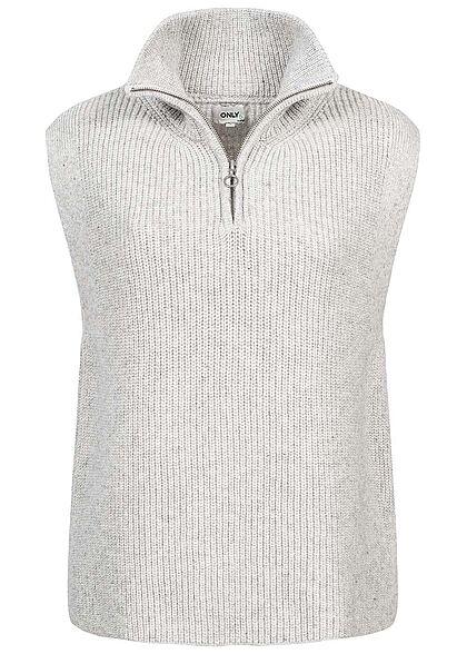 ONLY Damen NOOS High-Neck Half-Zip Pullunder mit Wollanteil hellgrau melange