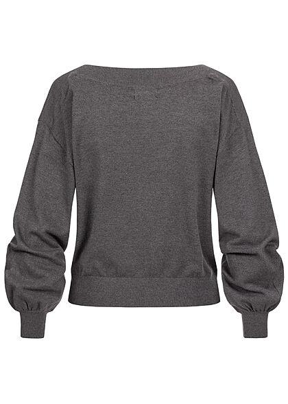 ONLY Damen U-Boot Pullover Sweater Puffer Ärmel dunkel grau melange