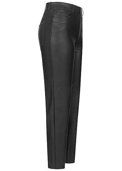 ONLY Damen NOOS Kunstleder Ankle Hose Straight Fit 5-Pockets schwarz