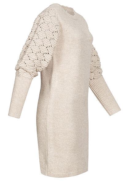 JDY by ONLY Struktur Kleid Wellendetails Lochmuster am Ärmel beige