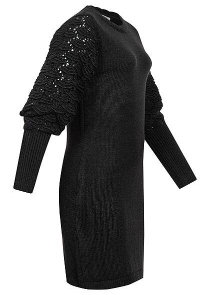 JDY by ONLY Struktur Kleid Wellendetails Lochmuster am Ärmel schwarz