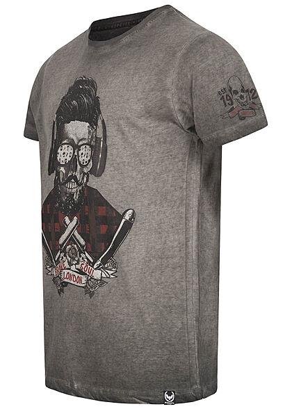 Brave Soul Herren T-Shirt DJ Head Print Barber Shop washed schwarz