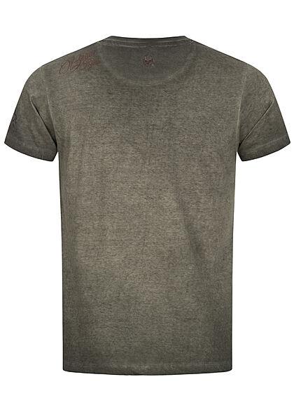 Brave Soul Herren T-Shirt DJ Head Print Barber Shop washed oliv grün