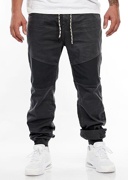 Urban Surface Herren Biker Stoffhose 5-Pockets Tunnelzug Rippbündchen anthrazit grau