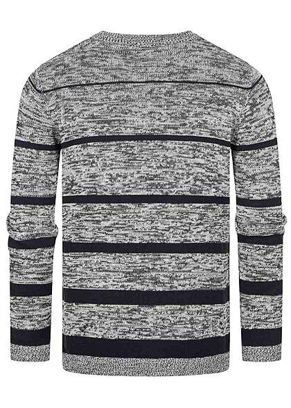 Urban Surface Herren Melange Strickpullover mit Streifen blau grau