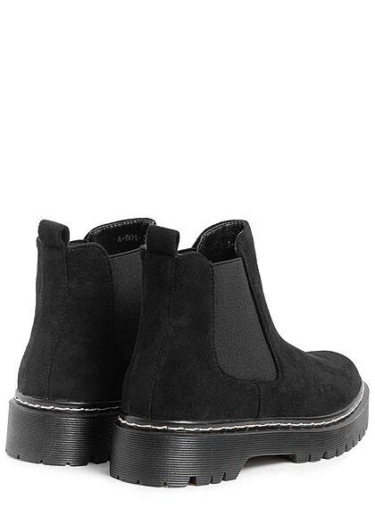 Seventyseven Lifestyle Damen Schuh Halbstiefel in Velour- Optik schwarz