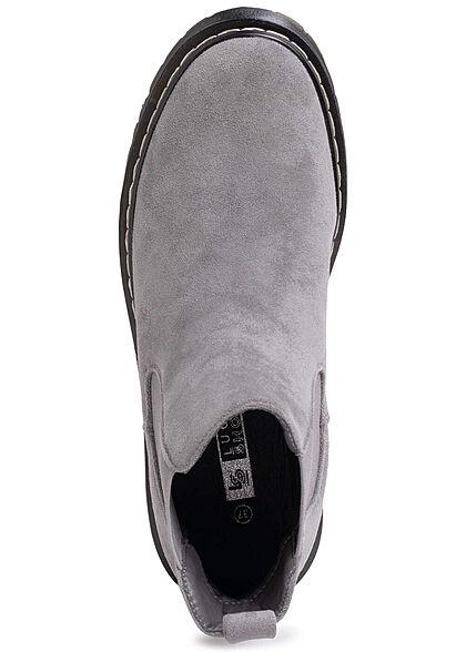Seventyseven Lifestyle Damen Schuh Halbstiefel in Velour- Optik grau