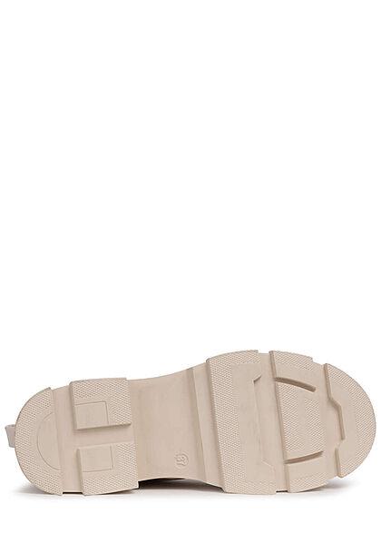 Seventyseven Lifestyle Damen Schuh Schnürrhalbstiefel mit Zipper Kunstleder sand beige