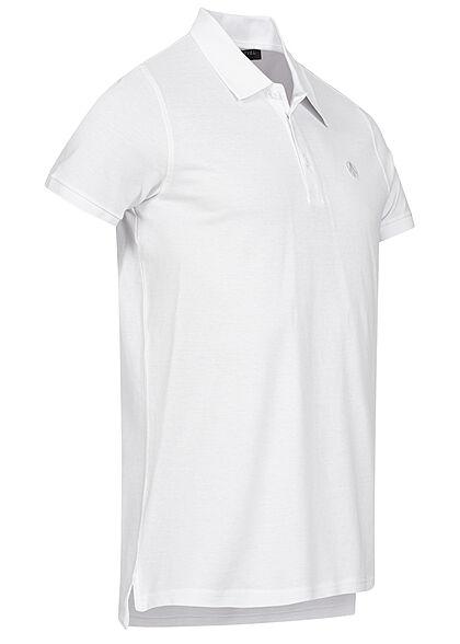 Sublevel Herren Polo T-Shirt Knopfleiste Vokuhila Struktur weiss