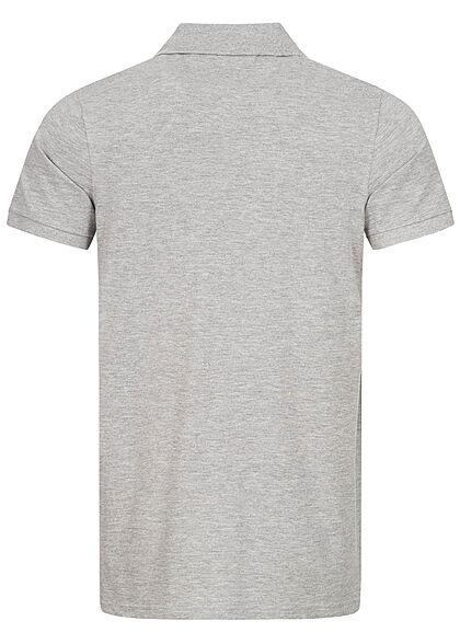 Sublevel Herren Polo T-Shirt Knopfleiste Vokuhila Struktur grau melange