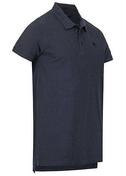 Sublevel Herren Polo T-Shirt Knopfleiste Vokuhila Struktur navy blau