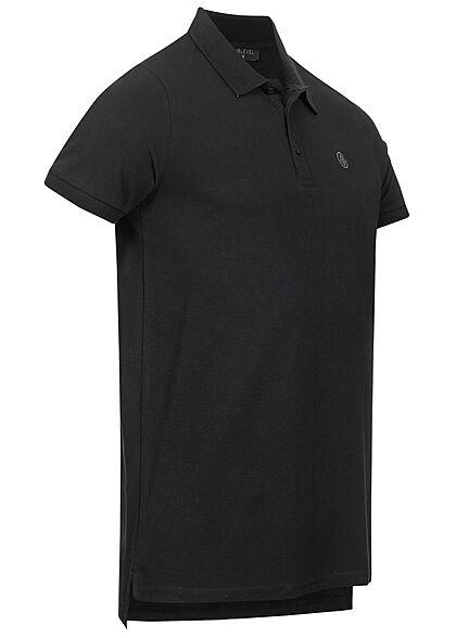 Sublevel Herren Polo T-Shirt Knopfleiste Vokuhila Struktur schwarz