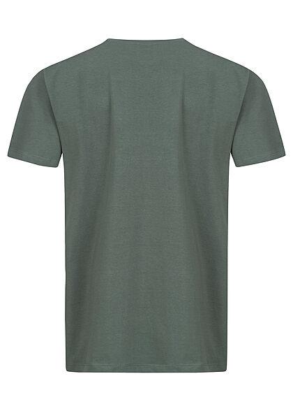 Stitch & Soul Herren T-Shirt mit Brusttasche Box-Fit pine grün