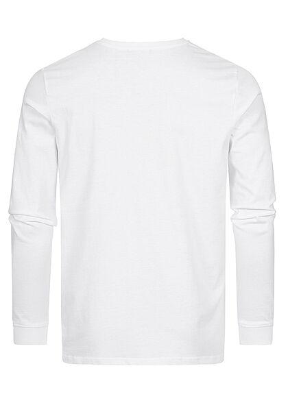 Stitch & Soul Herren leichter Pullover Longsleeve mit Print weiss