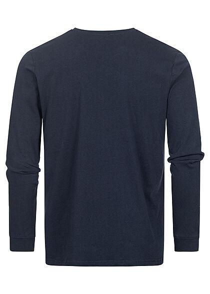 Stitch & Soul Herren leichter Pullover Longsleeve mit Print night navy blau