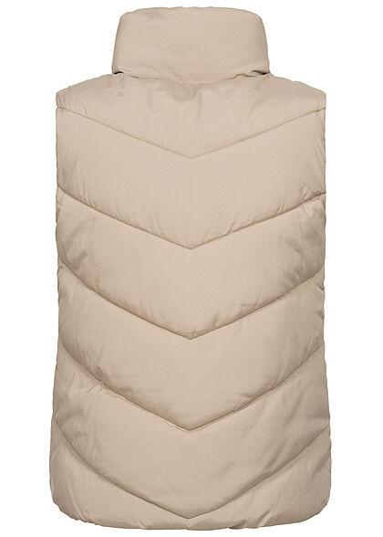 JDY by ONLY Damen Steppweste mit Stehkragen 2-Pockets simply taupe beige