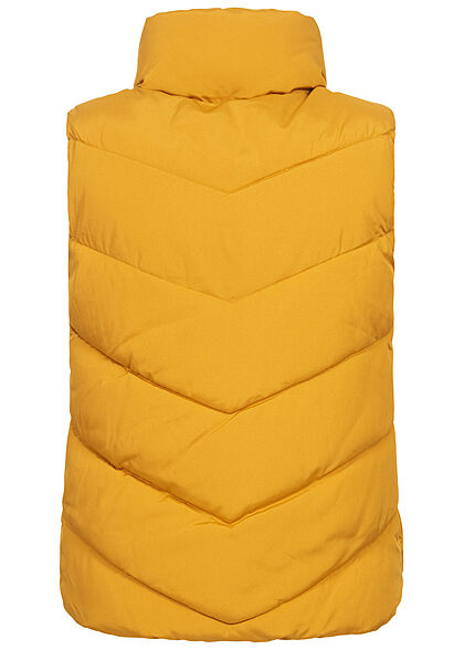 JDY by ONLY Damen Steppweste mit Stehkragen 2-Pockets harvest gold gelb