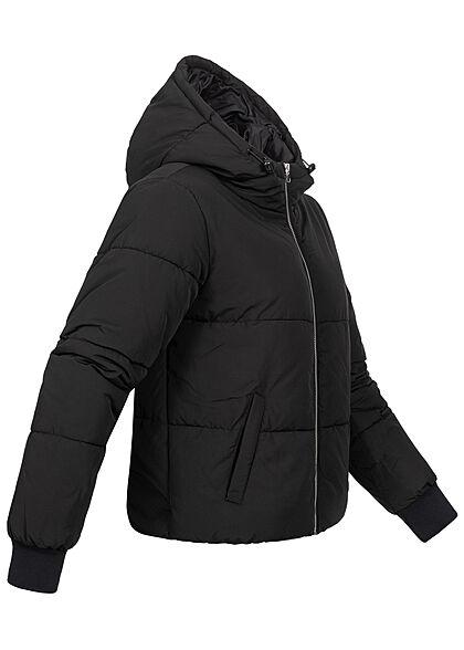 JDY by ONLY Damen kurze Steppjacke mit Kapuze 2-Pockets schwarz silber