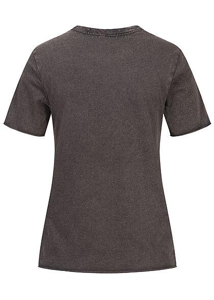 ONLY Damen T-Shirt mit Print FORTUNE washed schwarz rosa