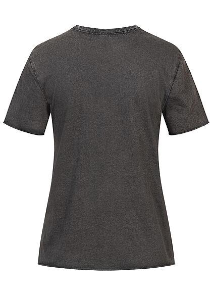 ONLY Damen T-Shirt mit Print UTOPIA washed schwarz mc
