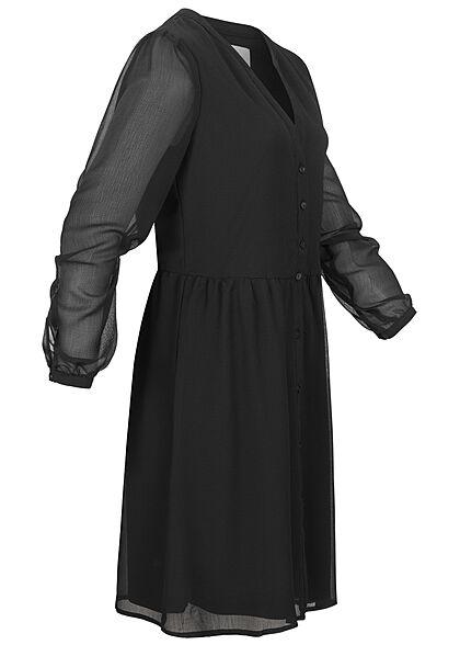 VILA Damen NOOS V-Neck Chiffon Pufferkleid Knopfleiste unicolor schwarz