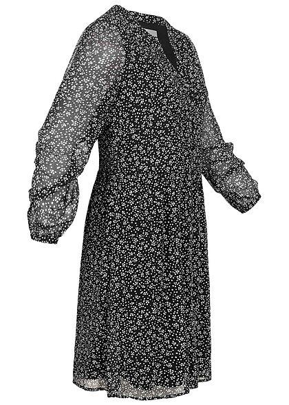 VILA Damen NOOS V-Neck Chiffon Pufferkleid Punkte Muster Knopfleiste schwarz