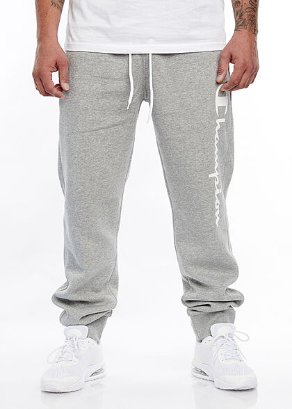 Champion Herren Sweatpants Jogginghose 2-Pockets Logo Schriftzug seitl. grau weiss