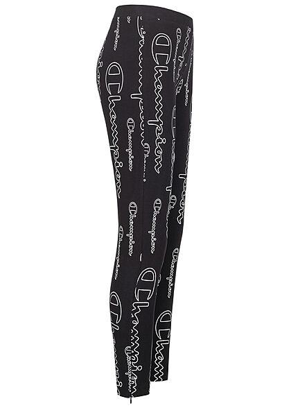 Champion Damen Skinny Leggings AOP logo Print mit Zipper am Bein schwarz weiss