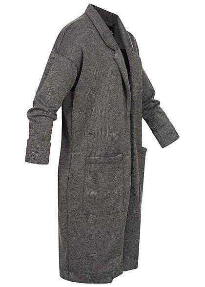 Pieces Damen NOOS 3/4 Arm V-Neck Blazer 2-Pockets offener Schnitt dunkel grau