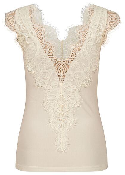 Pieces Damen NOOS V-Neck Spitzen Top mit Wimpernspitzen Details whitecap gray beige