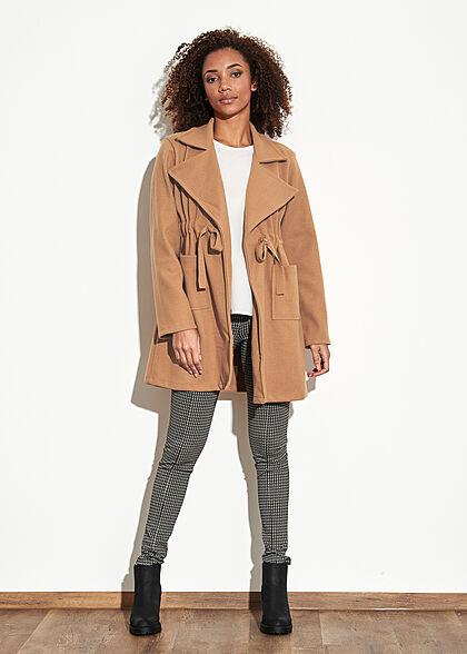 Styleboom Fashion Damen Übergangs Fleece Mantel Tunnelzug 2-Pockets braun