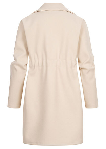 Styleboom Fashion Damen Übergangs Fleece Mantel Tunnelzug 2-Pockets beige