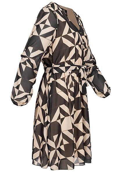 Styleboom Fashion Damen Mini Chiffon Kleid Geometric Print Bindegürtel schwarz