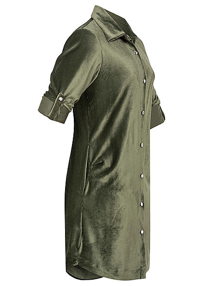 Styleboom Fashion Damen Turn-Up Hemdbluse in Cord- Optik Knopfleiste khaki