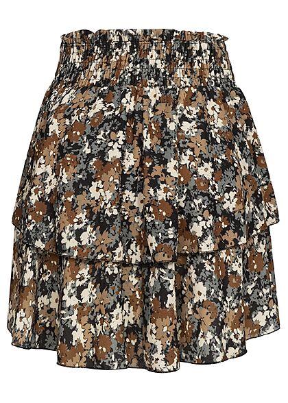Styleboom Fashion Damen Mini Stufenrock Blumen Print 2-lagig schwarz braun mc